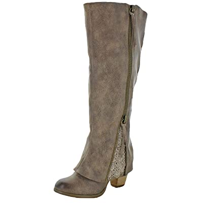 Not Rated Womens Sassy Girl Lace Detail Stacked Heel Knee-High Boots   Knee-High