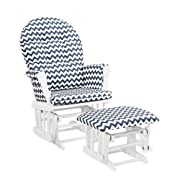 Windsor Glider and ottoman-white w/ navy chevron