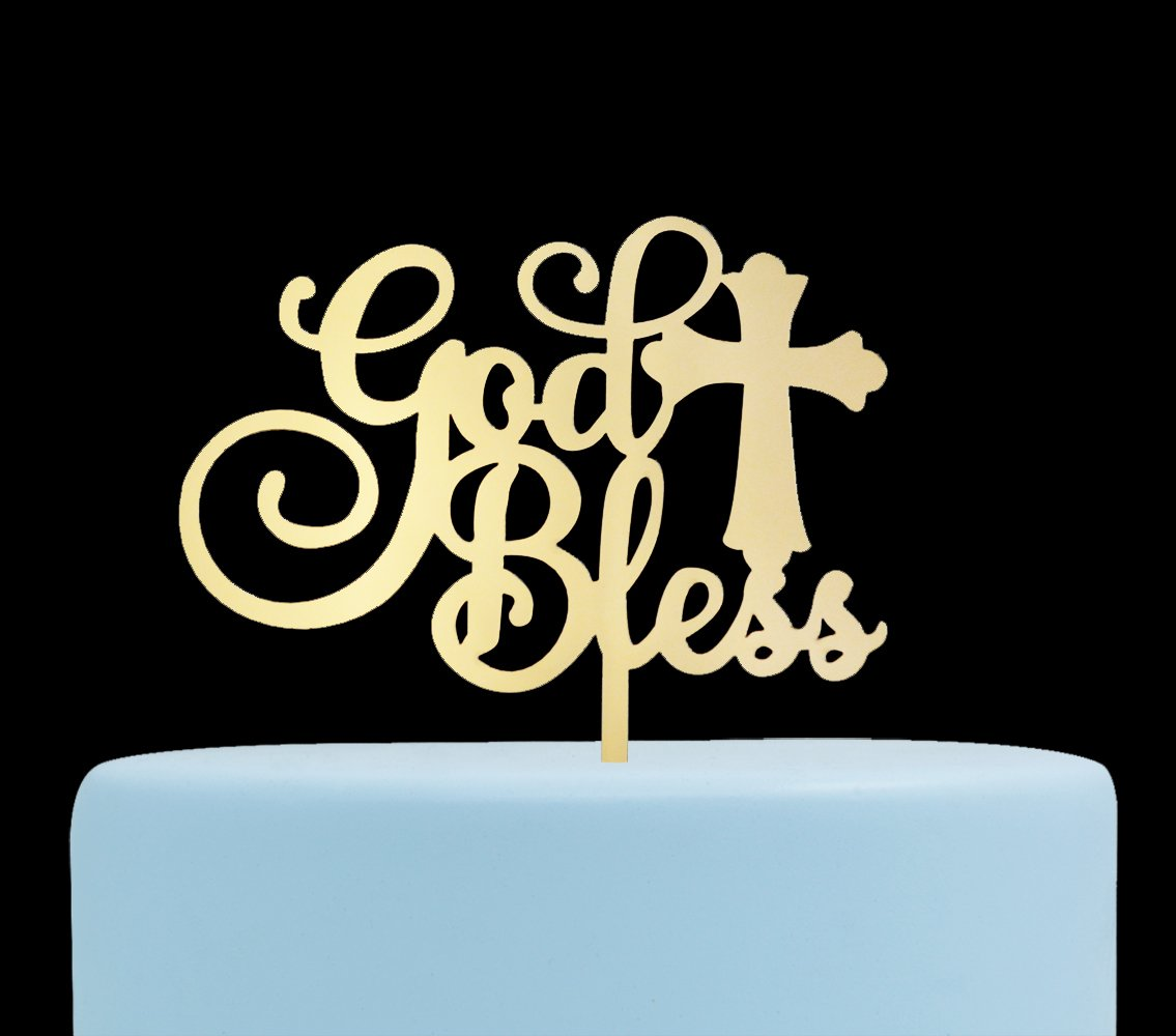 God Bless Acrylic Cake Topper for Baptism, Christening, Dedication or First Communion Decorations( MIrror Gold)
