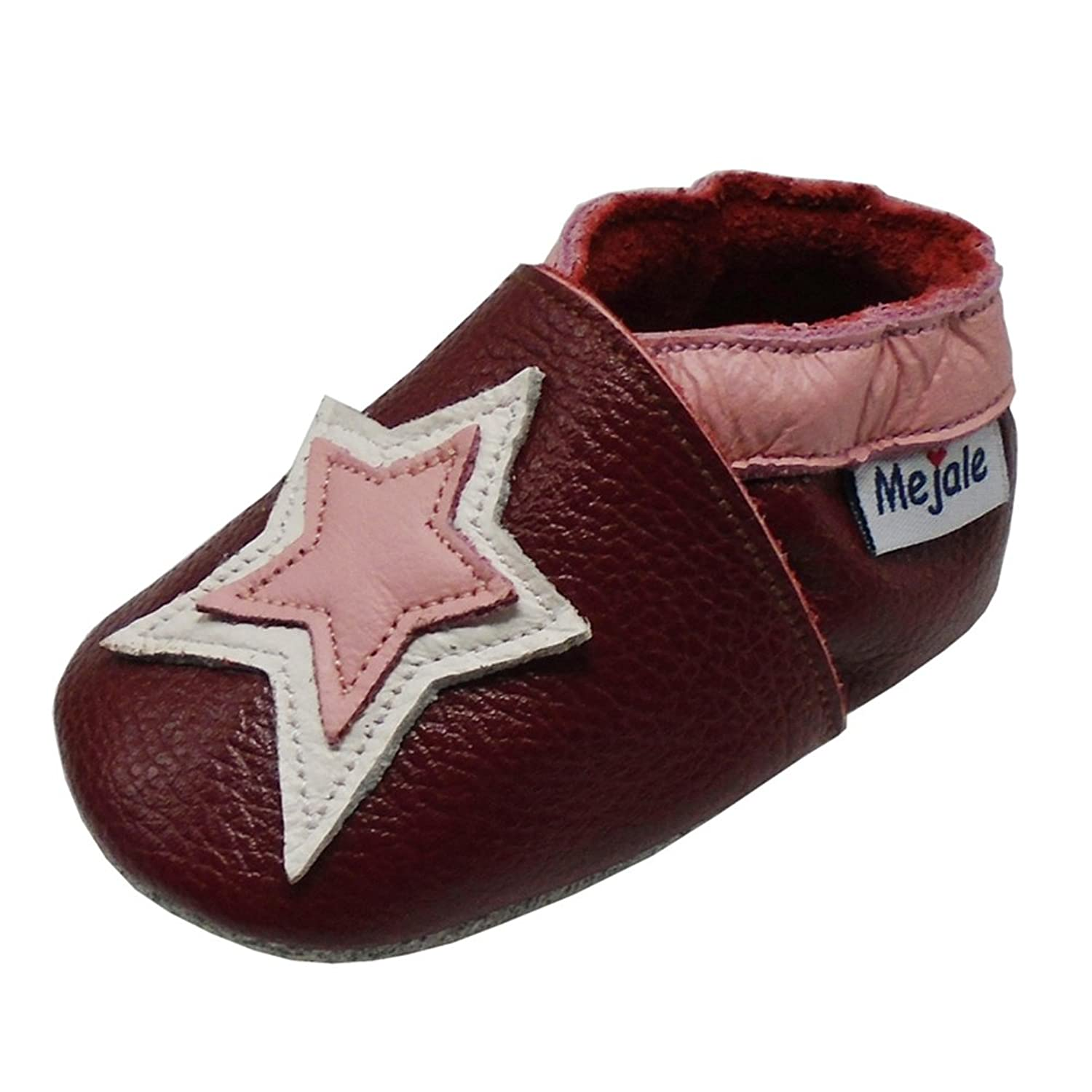 Mejale Baby Shoes Soft Sole Leather Crawling Moccasins Cartoon Star