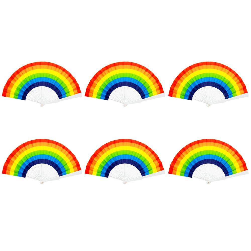 Rainbow Fans,6 Pack Rainbow Fans Decorations Folding Fan for Themed Party Gay Pride LGBT Party Favor