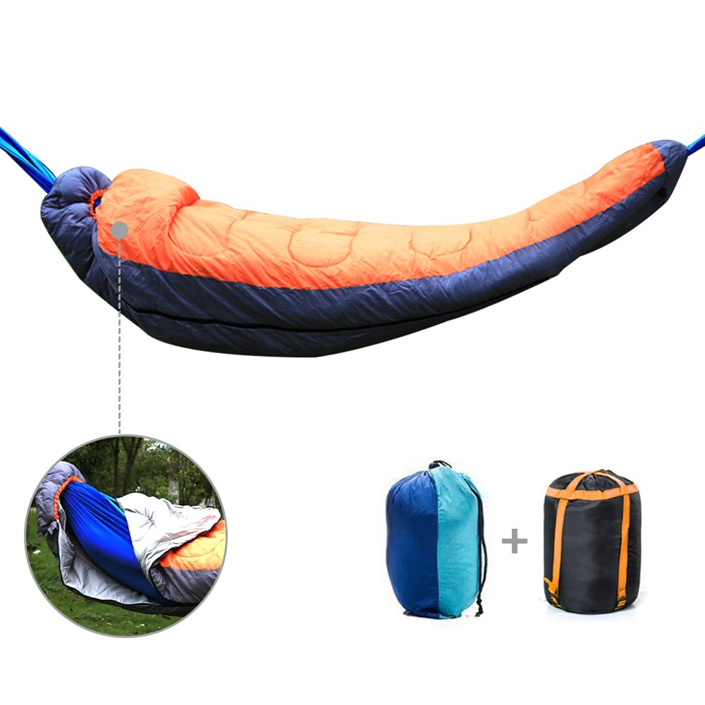 Camping Hammock Sleeping Bag,FOME Single Camping Hammock Sleeping Bag 2 in 1 Set, Portable Nylon Parachute Hammock with Mummy Sleeping Bag Extra Thick Apply to Winter for Outdoor Camping Hiking