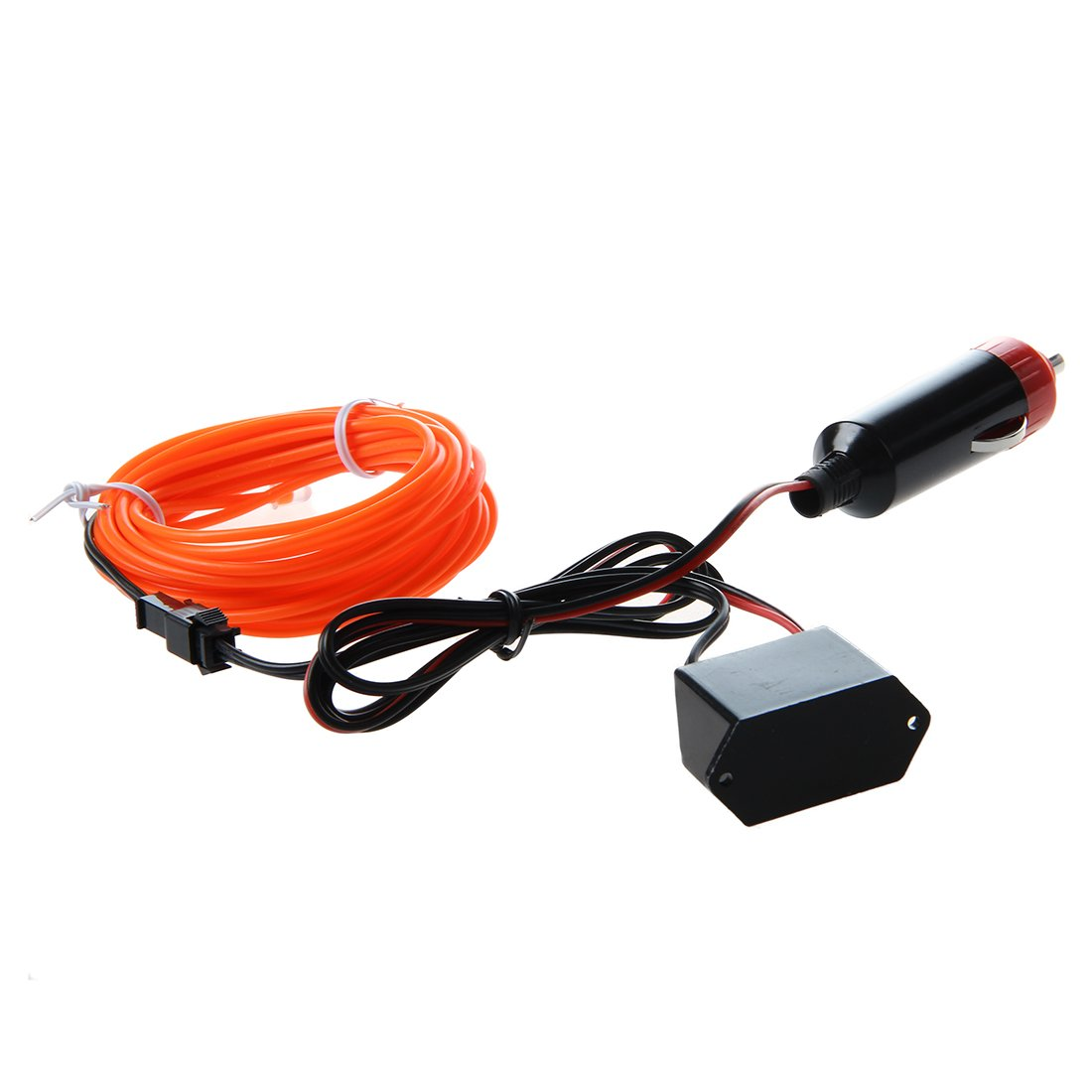 SODIAL(R) LED Flexible EL Wire Neon Glow Tube Lamp Light DC 12V Inverter for Car, 3M Orange 084479B6