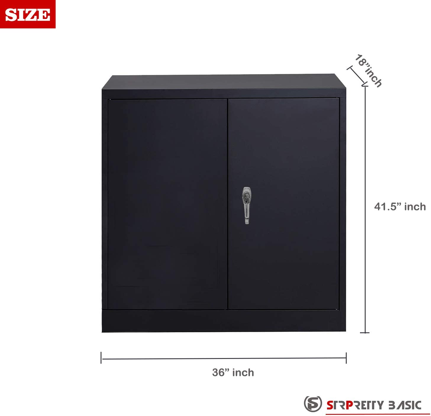 SP Home Office Storage Cabinet with 2 Adjustable Shelves Black Steel SnapIt Office Cabinet