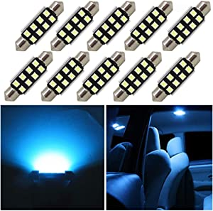 WLJH 10pcs 41mm 42mm Festoon LED Canbus Error Free Bulbs 3W 2835 Chipsets Ice Blue 578 211-2 212-2 LED License Plate Dome Light Bulb for Car-2Yrs Warranty