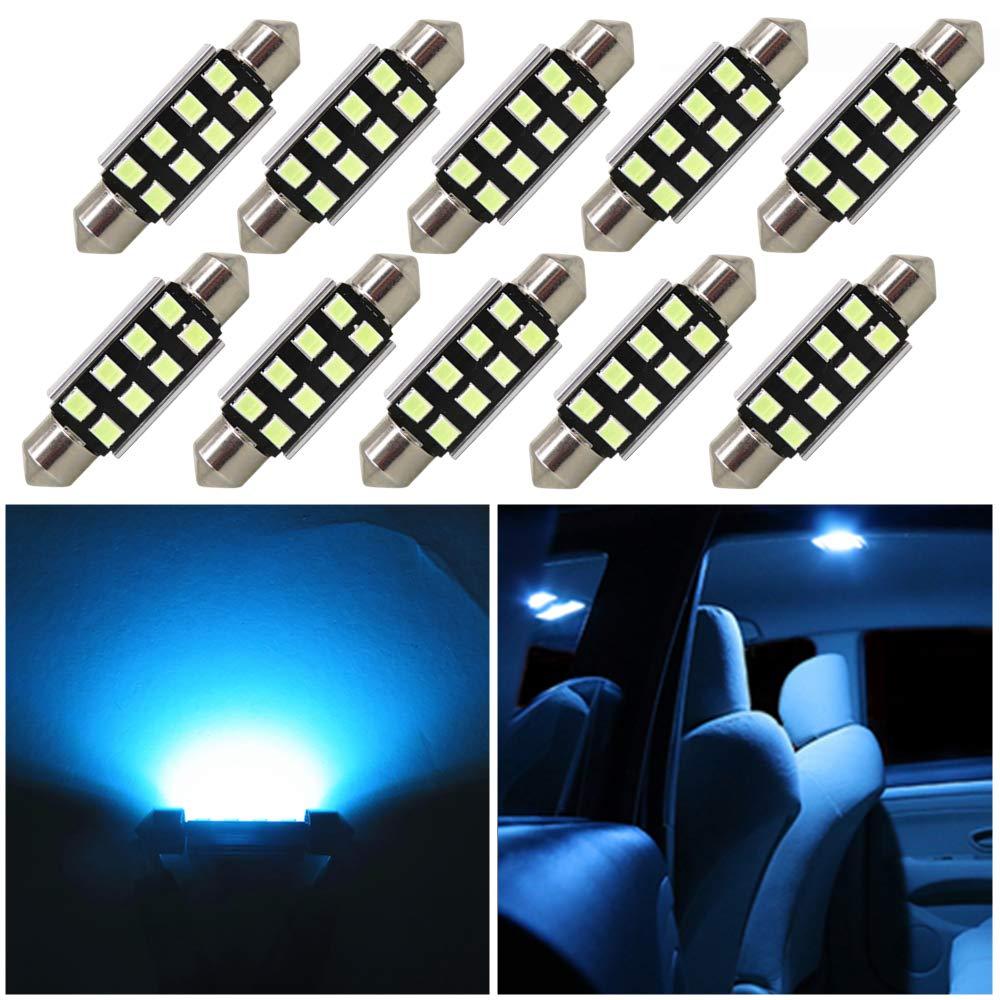 WLJH 10pcs 36mm Festoon LED 3030 Chipsets DE3425 3021 6418 Canbus LED Blub for Car Interior Dome Reading Map License Plate Door Courtesy Lights Lamp-2Yrs Warranty