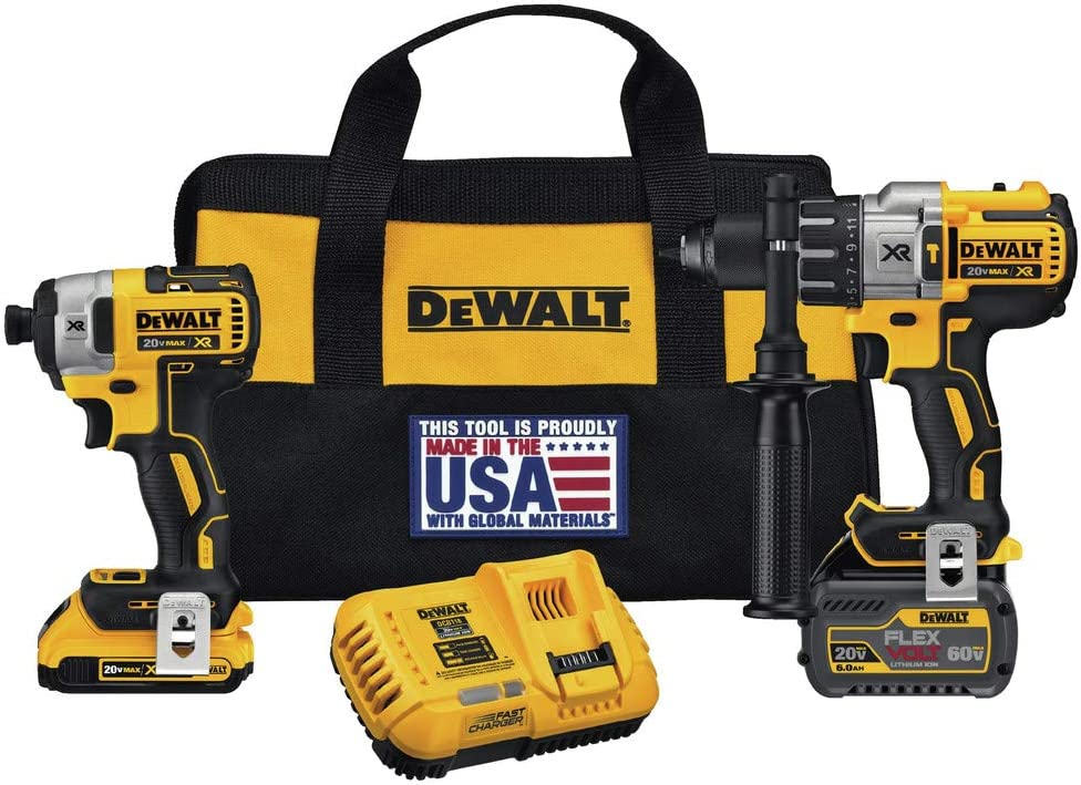 Dewalt DCK299D1T1R 20V MAX FlexVolt Cordless Lithium-Ion Hammer Drill and Impact Driver Combo Kit with 2 Batteries Renewed