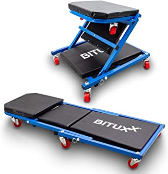 Bituxx Werkstatt Rollbrett Werkstattliege Montageliege Montagerollbrett Sitz Als Liege Oder Werkstatthocker Klappsitz Verwendbar Auto