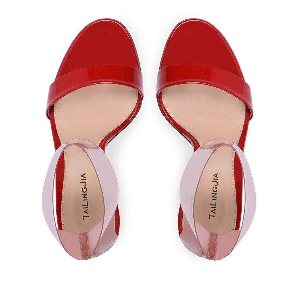 LUCKY CLOVER-A High Heels Sandalen Frauen Braut Mädchen Damen Mädchen Braut Modern Design Schnalle Klassische Court Schuhe Stiletto Pumps, EU46,ROT,EU45 - bead81