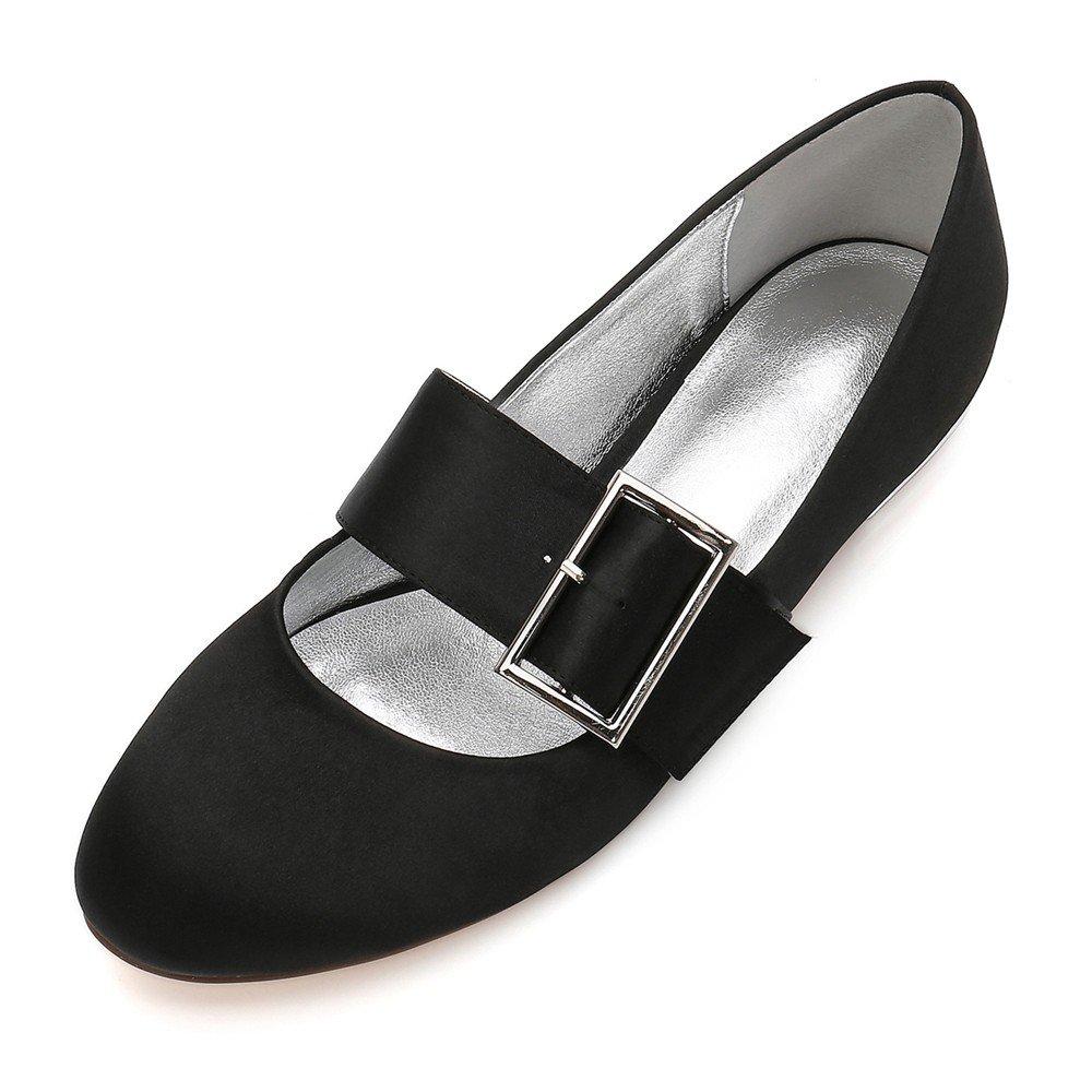 Zxstz Zapatos de Novia de la Boda Zapatos de la Corte Plano Solo Vestido de Fiesta Zapatos de tacón bajo Cerrado Zapatos de la Boda de la Fiesta de graduación, Negro, 39 39EU negro