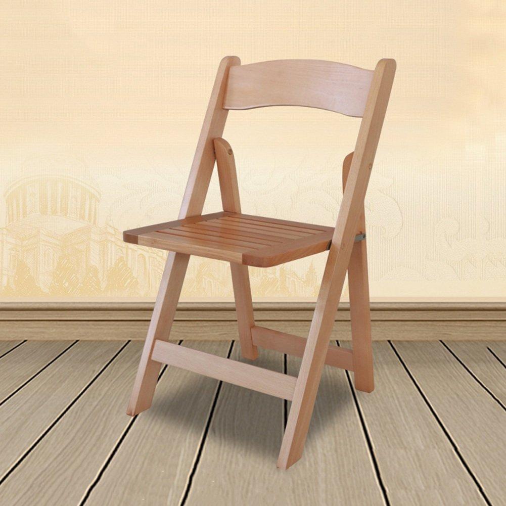 ZEMIN ダイニングチェア椅子の木の木製折り畳み 椅子ソファーシートスツールテーブル背もたれポータブル折りたたみ可能なブナソリッドウッド、ログカラー、38x35x77CM B078RMHHP6