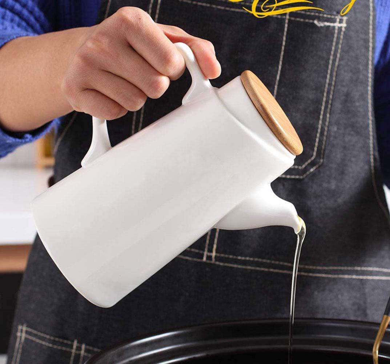 Dispensador de olla de aceite de cer/ámica blanca pura moderna Vinagre dispensador de olla HOME Kitchen Dispensador de salsa de oliva con tapa vinagrera de sa vertedor de fugas a prueba de polvo