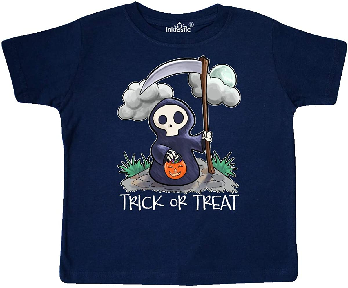 inktastic Trick or Treat with Cute Grim Reaper Toddler T-Shirt