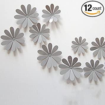 Lenofocus 12pcs 3d Flower Wall Stickers Decor Art Decorations 3 Size (Grey) Part 39
