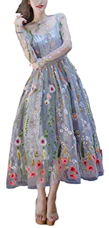 sekitoba-japan.inc Formal Flower Embroidery Prom Party Maxi Long Evening Dress Gown for