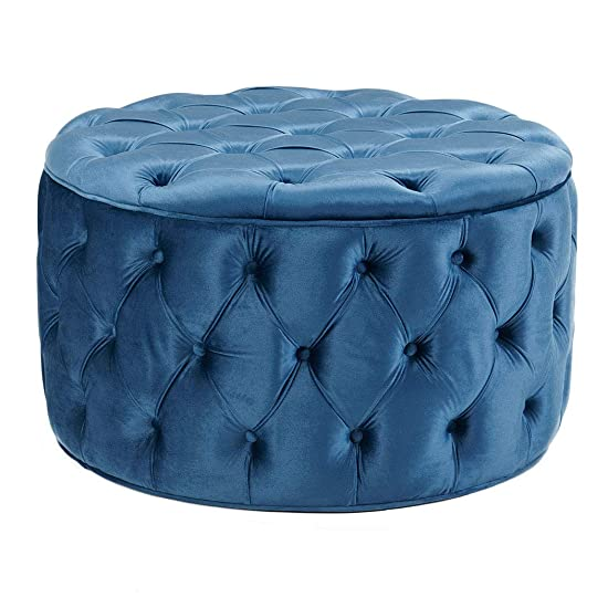 Duhome Elegant Lifestyle Ottoman Vanity Large Tufted Round Ottoman Wooden Legs Upholstered Ottoman Stool