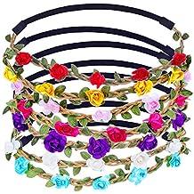eBoot Multicolor Flower Headband Crown with Adjustable Elastic Ribbon, 7 Pieces