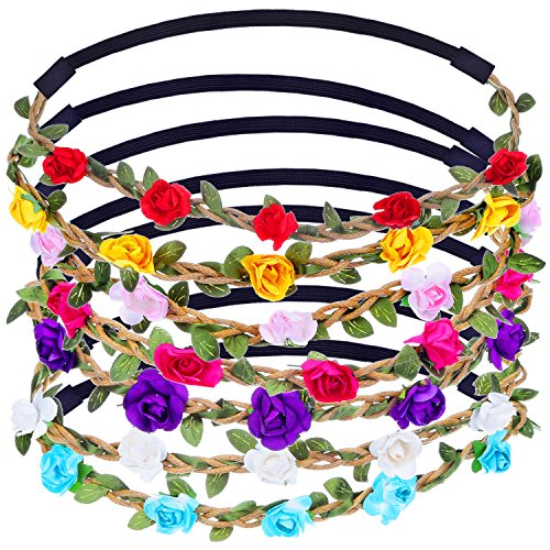 eBoot Multicolor Flower Headband Crown with Adjustable Elastic Ribbon, 7 Pieces