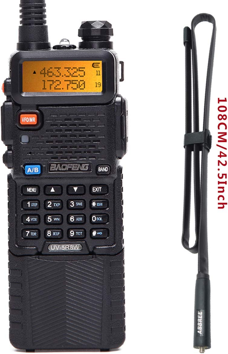 BaoFeng UV-5R 8W High Power Tri-Power 1W 4W 8W Portable Dual Band Two-Way Radio 3800mAh Battery with 42.5inch Abbree Tactical Antenna