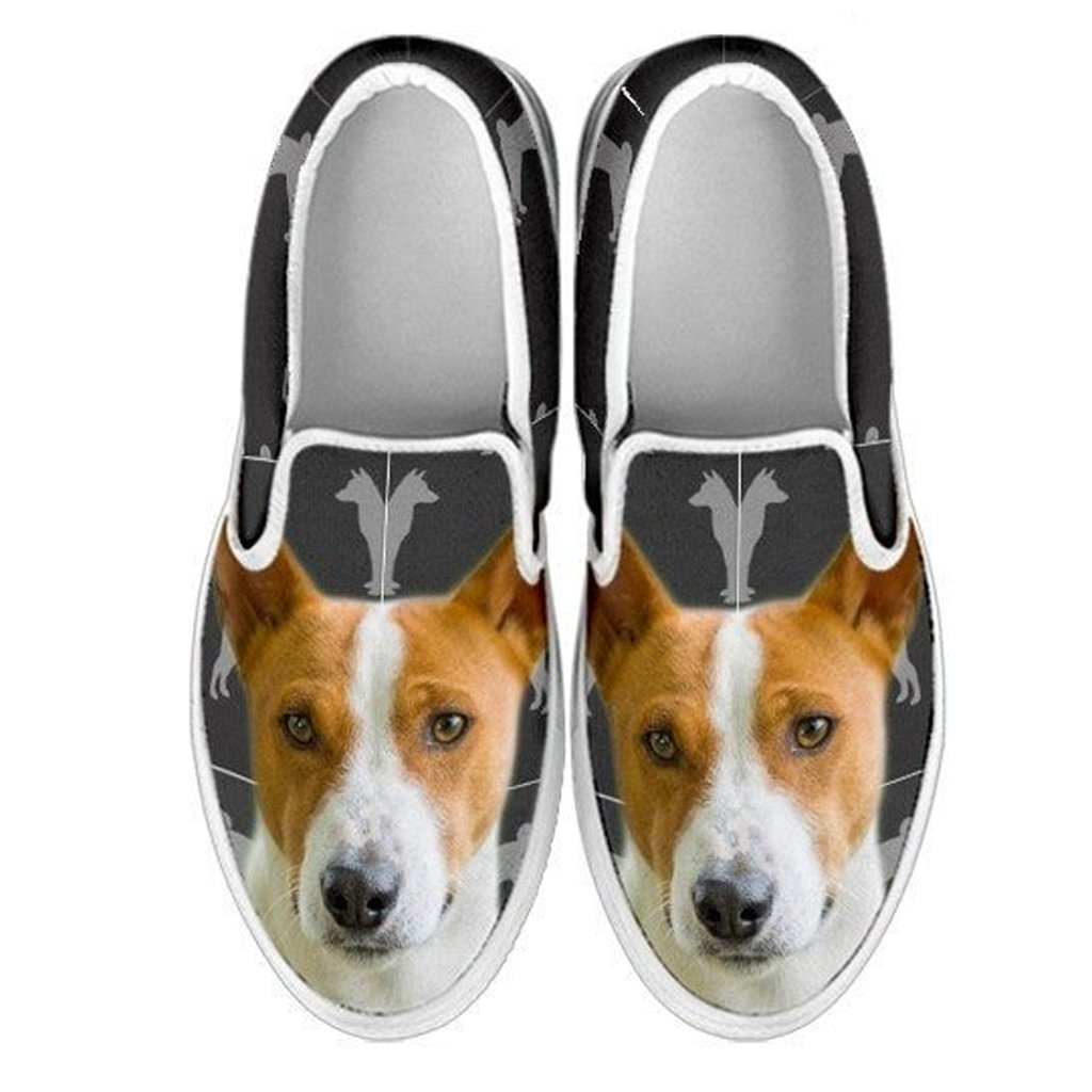 Choose Your Pet Breed , Basenji EU34 3 Youth Kids Slip Ons-Lovely Dogs Print Slip-Ons Shoes for Kids
