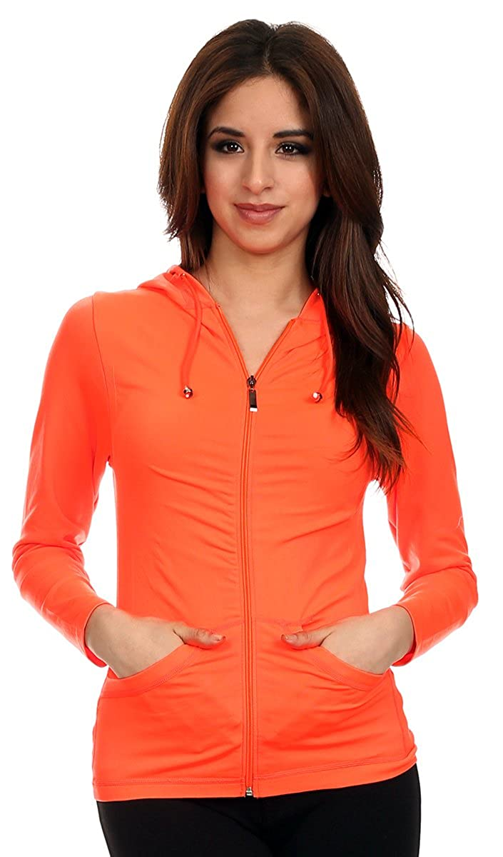 Lotus Lightweight 4-Way Stretch Hooded Active Yoga Fitness Zumba Jacket with Pokets Zip Up//One Size