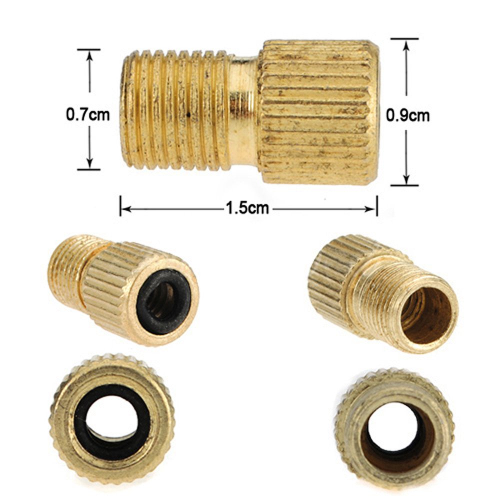 Dcolor 3 piezas de laton Presta a la bomba de bicicleta de la bici de la valvula adaptador Schrader