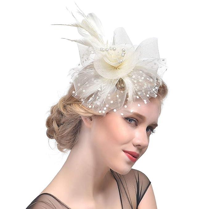 Lisianthus Women s Feather Fascinators Top Hat Wedding Party Derby Hat  A-Beige d52d6c1c518