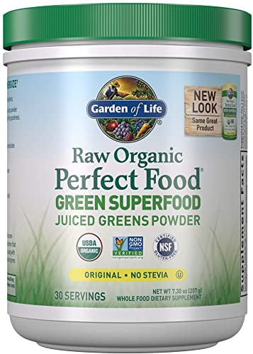Garden of Life Raw Organic Perfect Food Green Superfood Juiced Greens Powder, Plant Based Dietary Supplement – Original Stevia-Free, 30 Servings Packaging May Vary