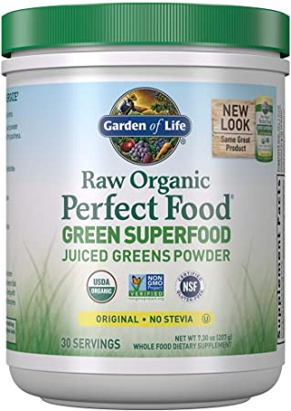 Garden of Life Raw Organic Perfect Food Green Superfood Juiced Greens Powder - Original Stevia-Free, 30 Servings - Non-GMO, Gluten Free Whole Food Dietary Supplement - Alkalize, Detoxify, Energize