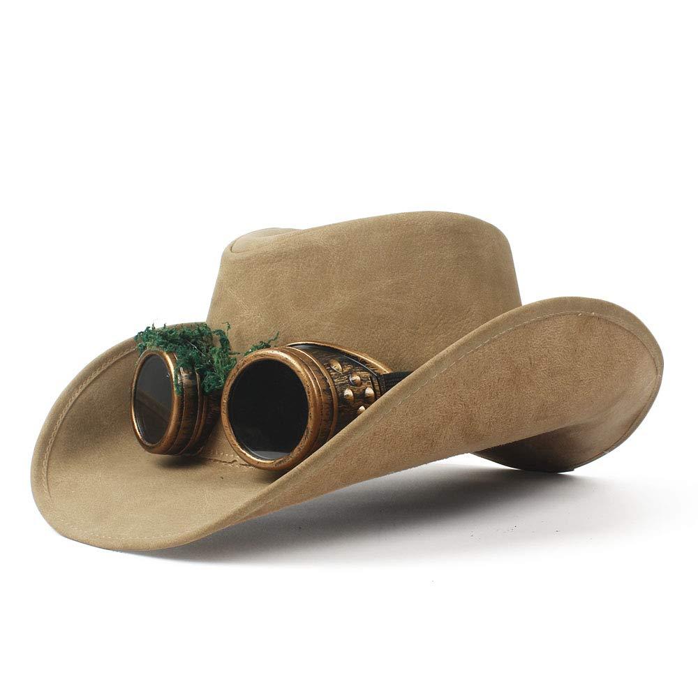 LL Men's Cowboy Hat Faux Leather Metal Decoration Wide Brim Western Men Women Headwear Cap (Color : Natural, Size : 57-59cm)