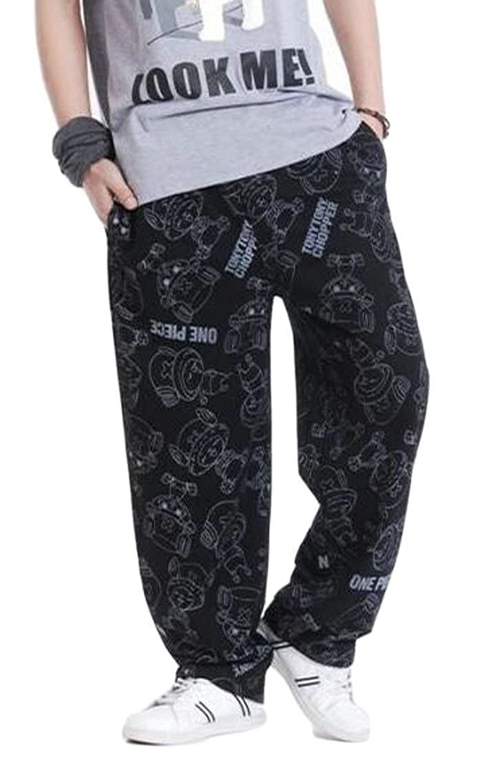 Hajotrawa Mens Athletic Printed Straight Leg Casual Outdoor Trousers Big and Tall Pants