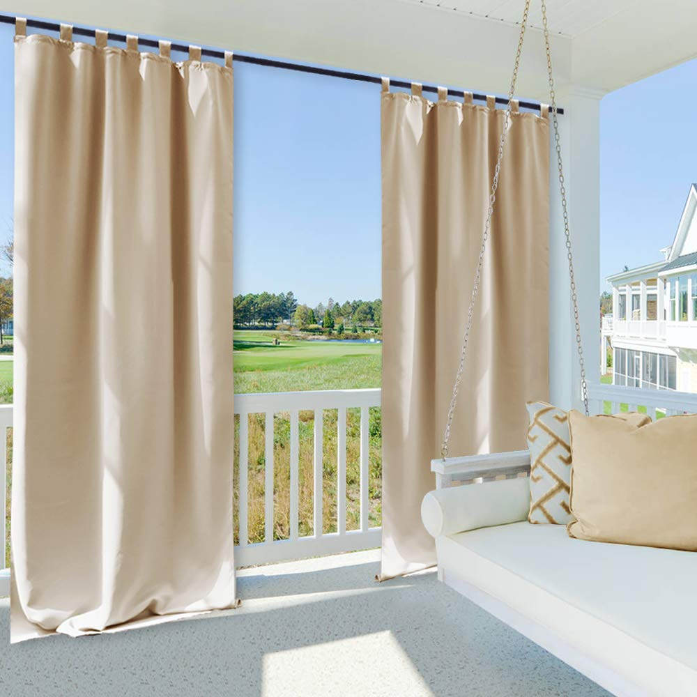 NICETOWN Outdoor Drape and Curtain Pergola - Front Proch Decor Thermal Insulated Tab Top Room Darkening Outdoor Curtain Panel (Biscotti Beige, 1 Piece, 52 x 84 Inch)