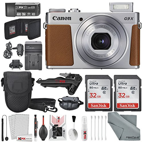 Canon PowerShot G9 X Mark II Digital Camera (Silver) Deluxe Bundle W/ 2 X 32 GB SD Card + Table Top Tripod + AC/DC Turbo Travel + Wrist Grip Strap + Point and Shoot Camera Case + Xpix Cleaning Kit