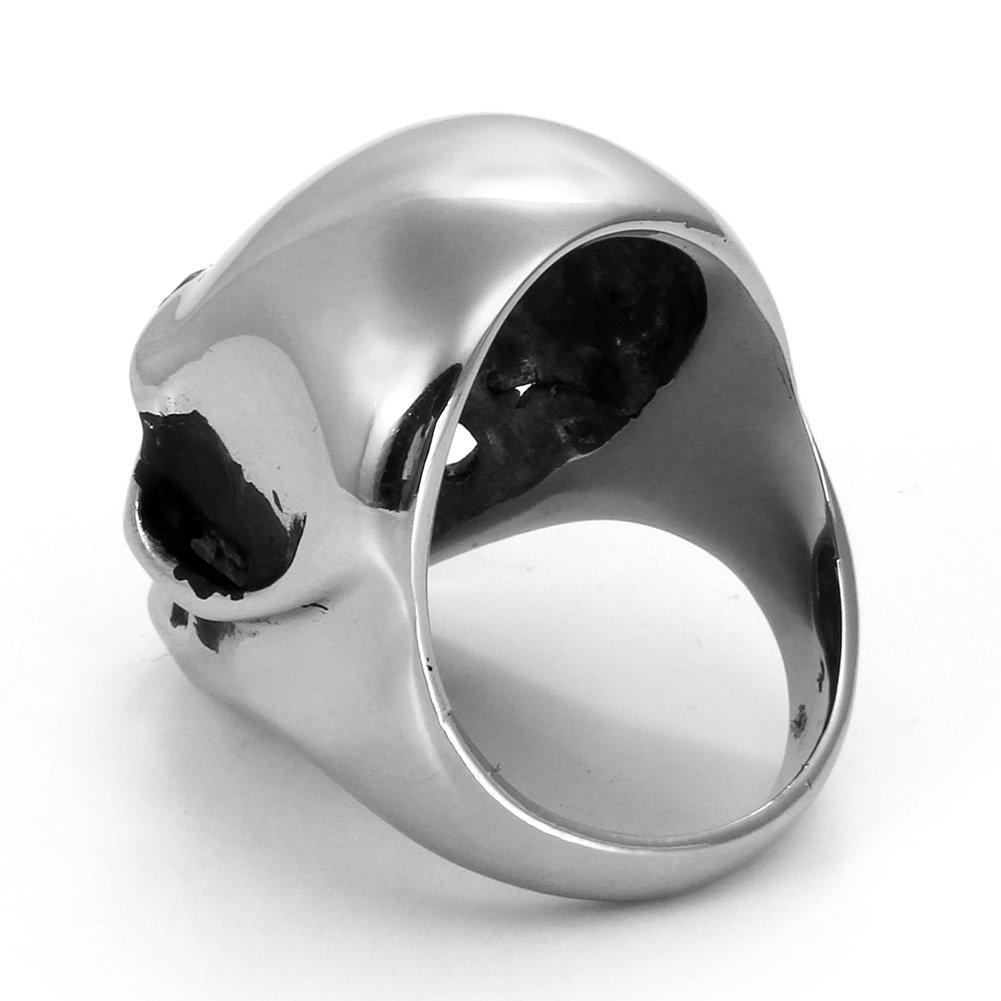 JewelryWe Inoxidable Grandes y Pesados Negro y Plata Color/ /Gratis Bolsa de Regalo de Terciopelo Biker Calavera Anillo Compromiso Boda Banda para Hombres