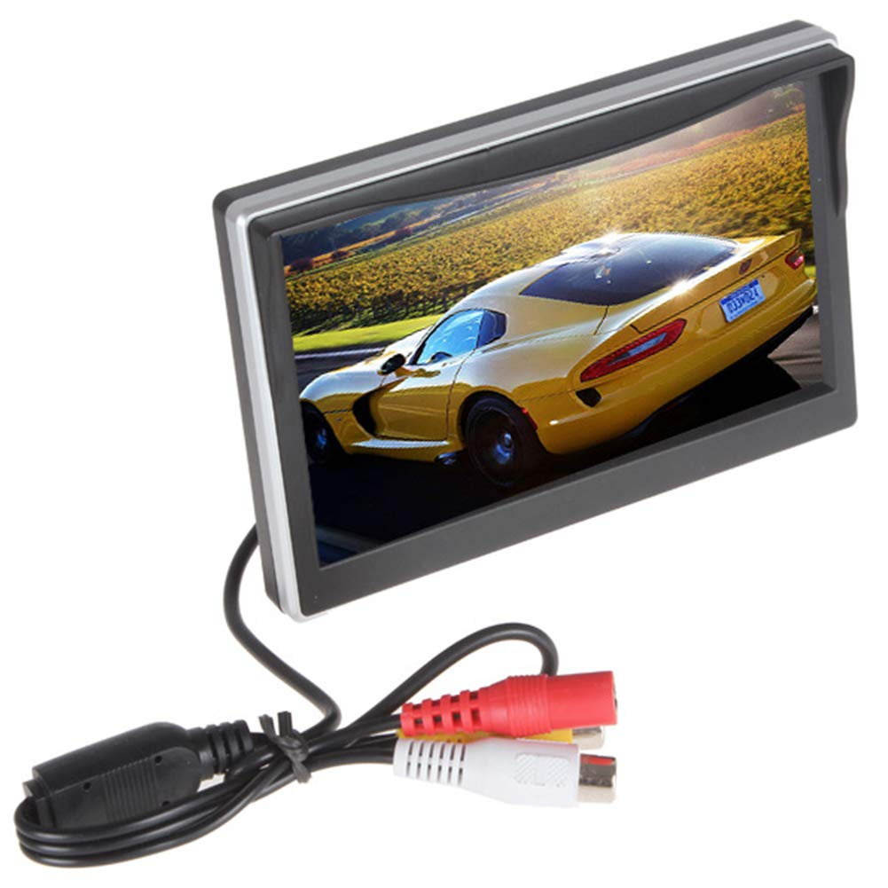 ZeHui 5Inch Vehicle Rearview Mirror HD Display - Button Control 4:3 Ratio 480x272