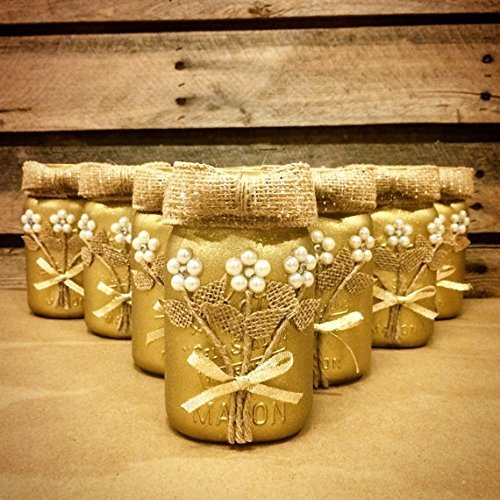 Gold Mason Jar, Mason Jar Wedding and Anniversary Decor Centerpiece ()