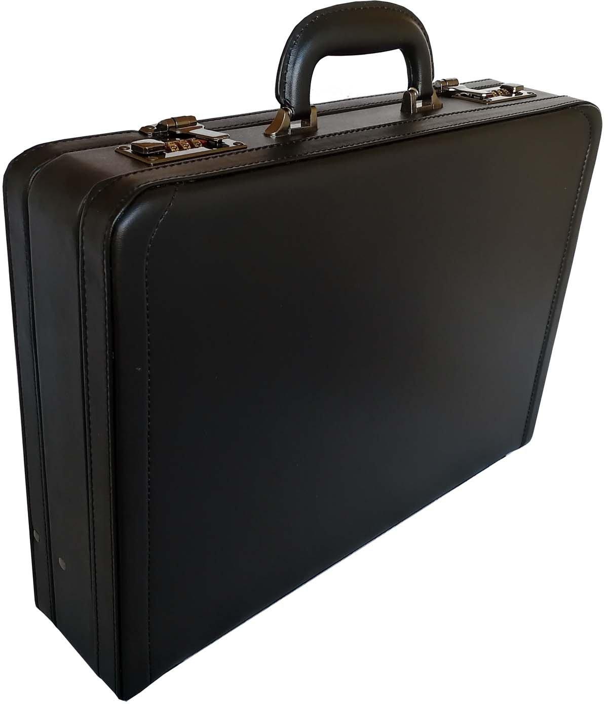 Deluxe Business Attaché-Case Mallette Extensible en Similicuir, Noir