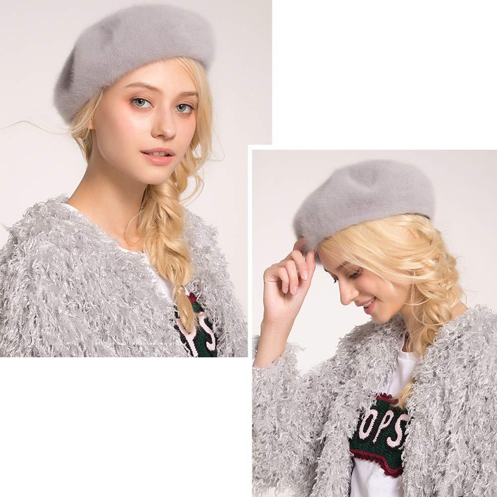 Color : Blue 4 Colores IDWOI-Boinas Francesa Sombrero para Mujer Invierno Oto/ño Suave Calentar Se/ñoras Chicas Compras Artista Gorro