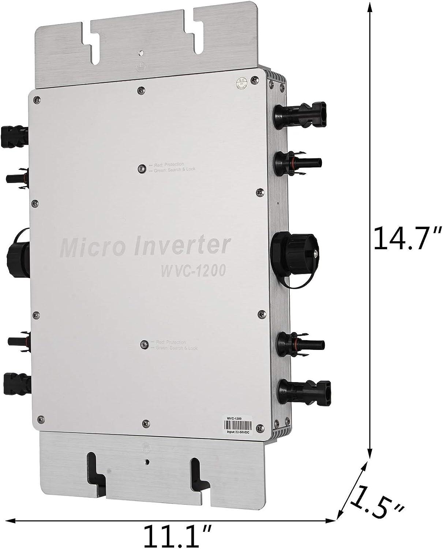 Mophorn 1200W MPPT Waterproof Solar Grid Tie Inverter DC to AC 110V Micro Inverter 1200W 110V