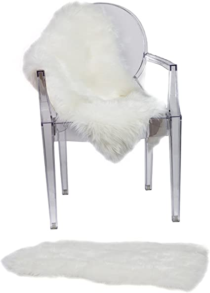 RUGLUSH Super Soft Sheepskin Chair Cover Seat Cushion Pad Excellent Quality Faux Fur Rug Modern