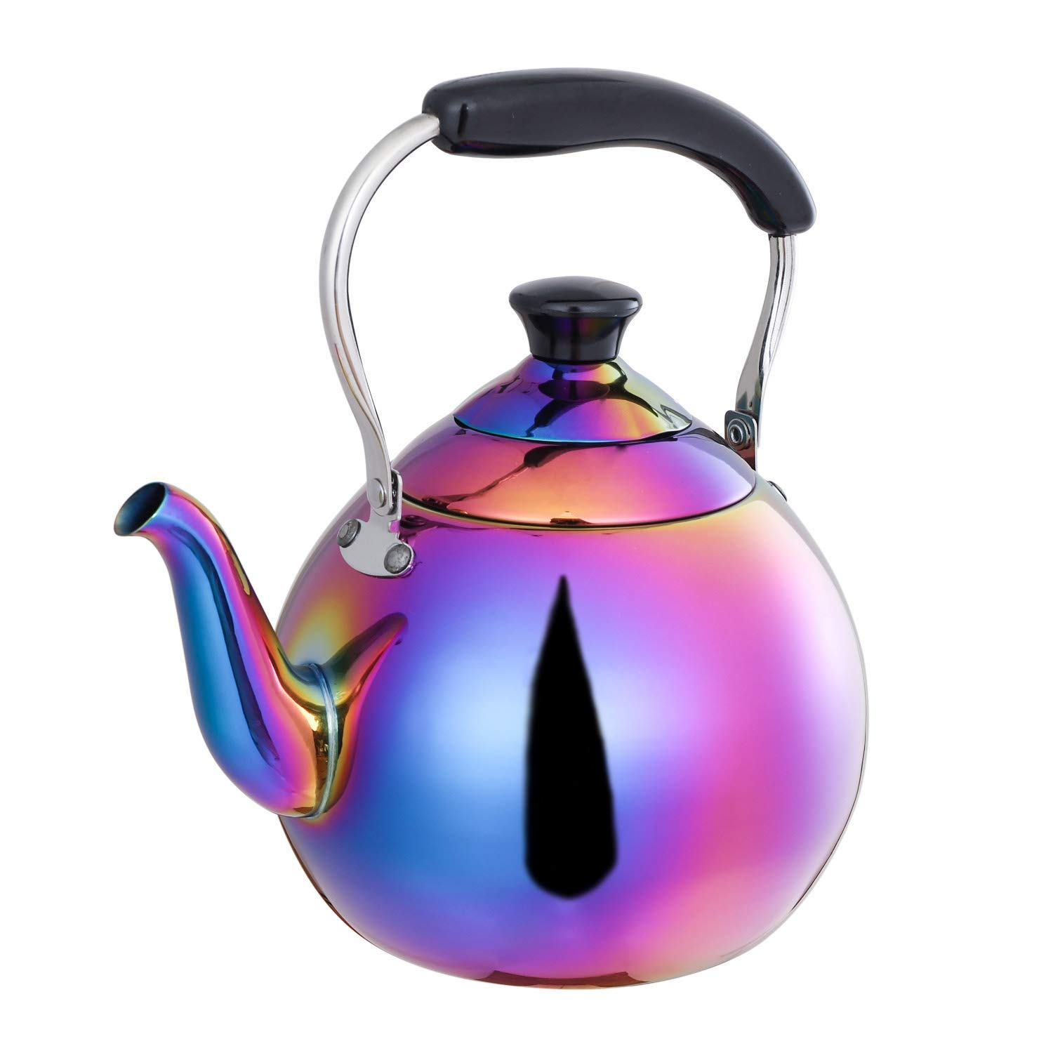 ROYDOM Whistling Tea Kettle Stainless Steel Teapot, 2-Liter Rainbow Teakettle for Stovetop Induction Stove Top, Fast Boiling Heat Water Tea Pot Maker Colorful 2.1-Quart