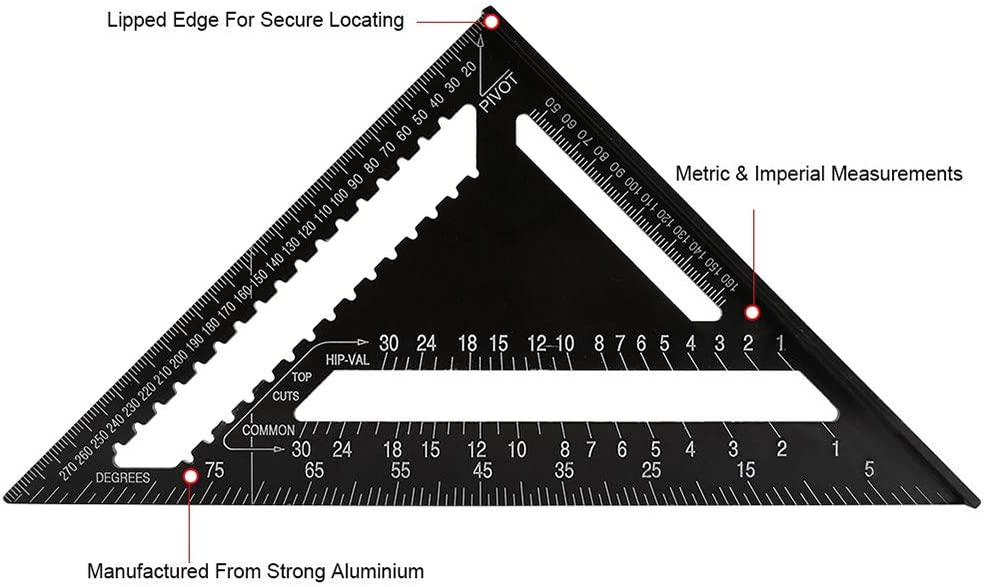 Aluminum Alloy Triangle Ruler Square Protractor Rafter Profile Triangular Ruler High Precision Measuring Tool for Engineer Carpenter Layout Gauge Architect Framing Measuring Lever Tool 7 inch