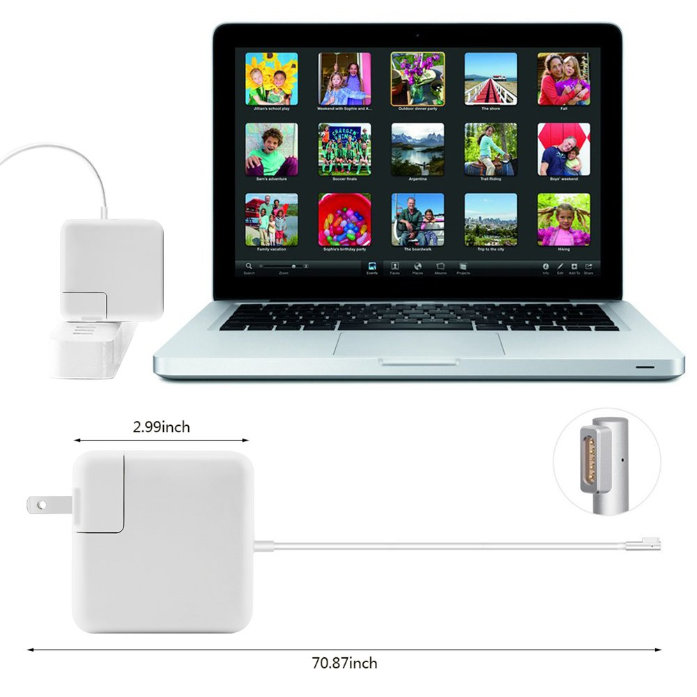 Macbook Pro Charger, L-Tip 60W MagsSafe Power Adapter for Apple Macbook Pro 13-inch A1181 A1278 A1184 A1330 A1342, L-Shape Magnetic connector 16.5V 3.65A (60W Magsafe 1 L-tip)