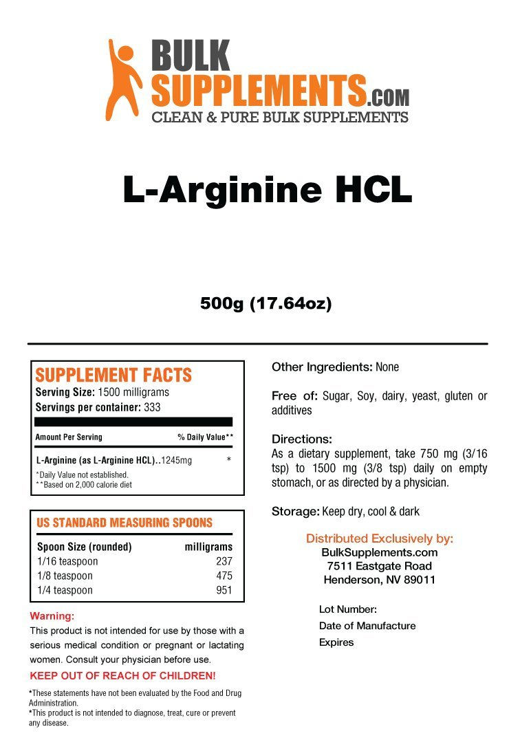 BulkSupplements L-Arginine HCL Powder (500 Grams) by BulkSupplements