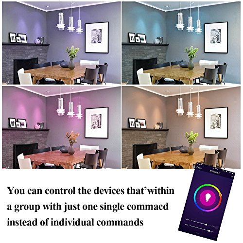 Tonbux Alexa Smart LED Bulb, Work with Echo and Google Home, No Hub Required WiFi Color Light Bulbs(10W) A21, Phone Controll and RGBW Tunable (60W Equivalent) by TONBUX (Image #3)