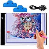 Light Box for Diamond Painting - A4 Ultra-Thin Portable LED Light Box Tracer, Stepless Dimming USB Power Light Pad for Diamond Painting, Drawing, Sketching, Animation, Calligraphy