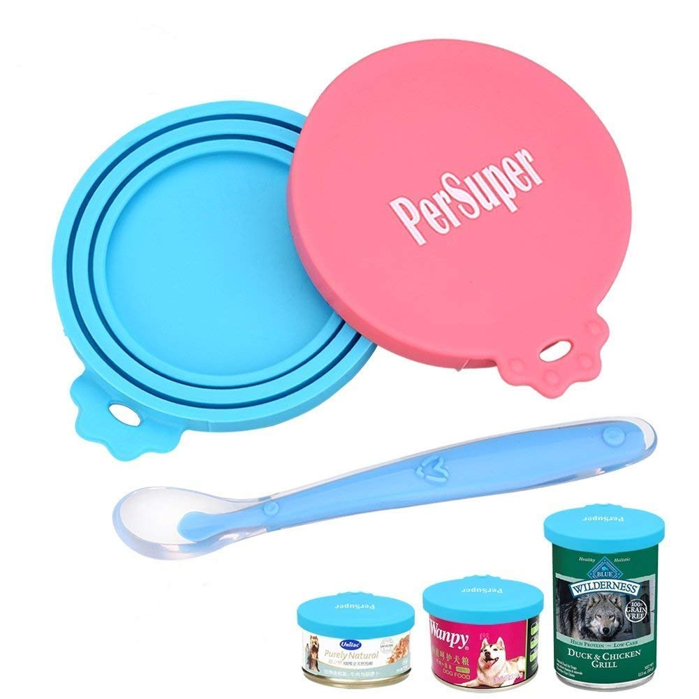 Pet Can Covers Scoop Packaging 1 Spoon + 2 Pack Universal BPA Free Silicone Pet Food Can Multiple Sizes Lid Covers One Size Fits All Standard Size Dog and Cat Can Tops PerSuper