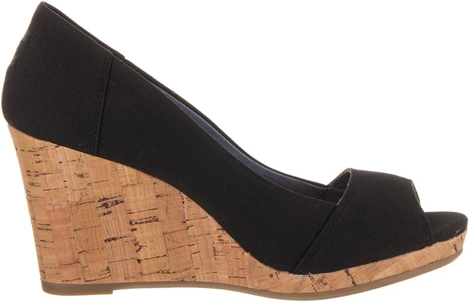 2a0013d0334 Womens Stella Open Toe Cork Wedge Sandals. TOMS Stella Black Canvas (12