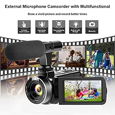 Camcorder Digital Video Camera, Digital Camera Full HD 1080P 30FPS 3'' LCD Touch Screen Vlogging Camera with External Microphone and Remote Control from LINNSE