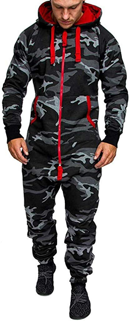 Scenxion Mens Onesie Hooded Jumpsuit One Piece Pajamas Unisex Sleepsuit Men Army Plain Fancy Printed All in Suit Onesie Autumn Winter Casual Hoodie Print Zipper Print Playsuit